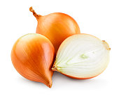 Onion bulbs isolated. Onion on white background. With clipping path. Full depth of field.