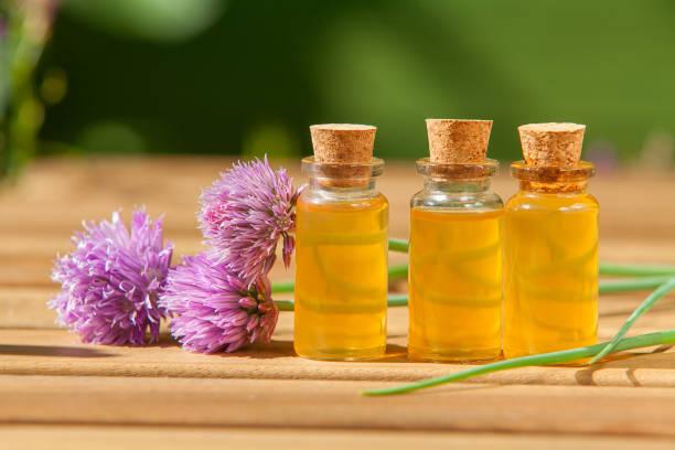 onion essential oil in  beautiful bottle on table - oli, aromi e spezie foto e immagini stock