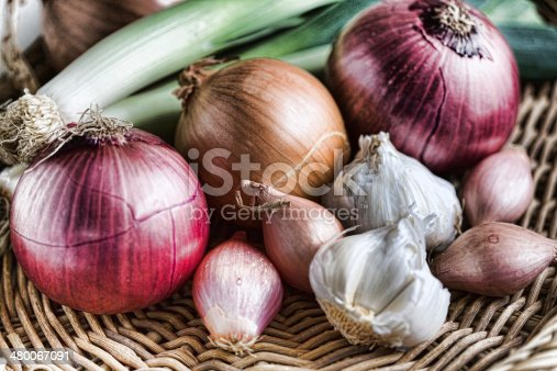 Members of the onion family-shallots, red onions, garlic, shallots, leeks, yellow onions