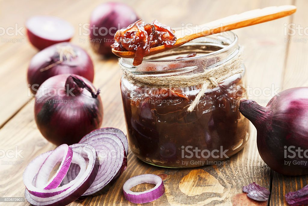 Onion jam stock photo