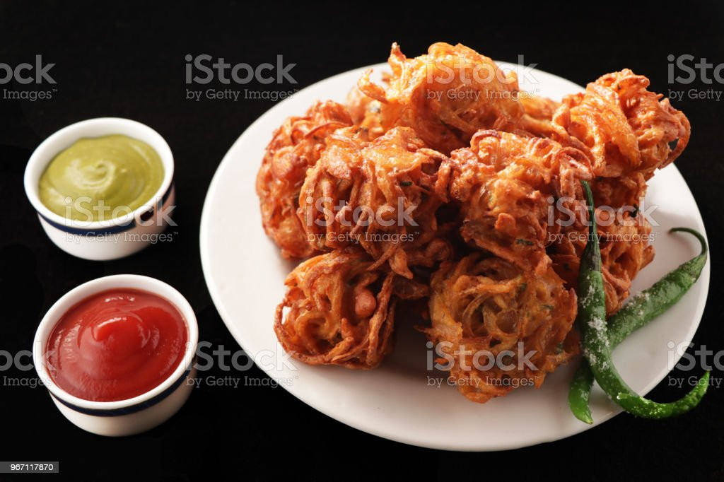Onion Pakora / kanda bhaji stock photo