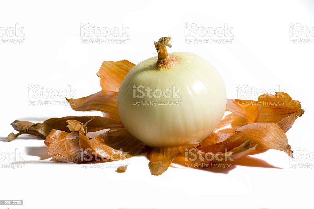 Onion Peeled with Skin stock photo