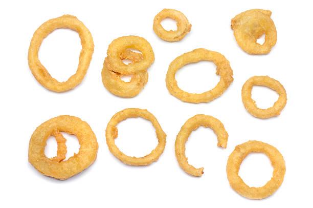 onion ring samples - gefrituurde uienring stockfoto's en -beelden
