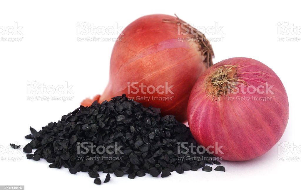Onion seeds stock photo