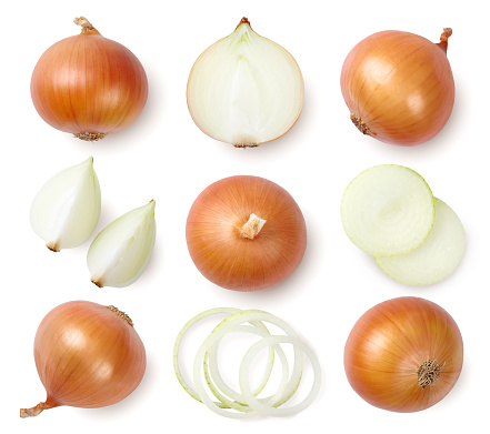 Whole and sliced onion bulbs isolated on white background. Top view.