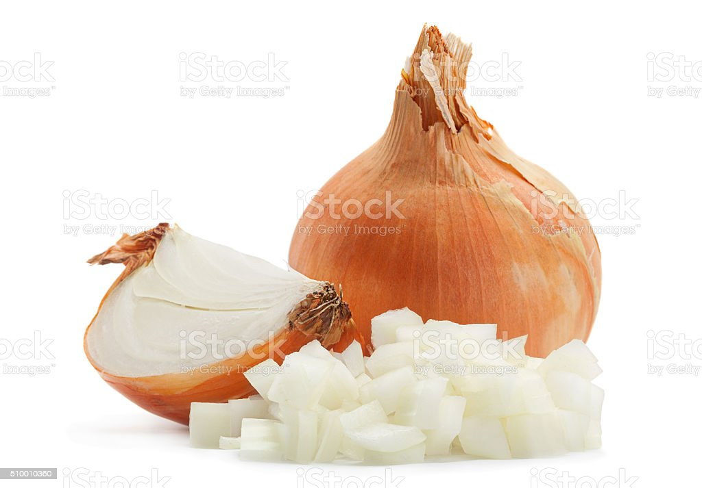 Onion slice on white stock photo