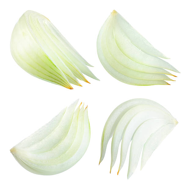 onion slices isolated on white background. with clipping path. - gefrituurde uienring stockfoto's en -beelden