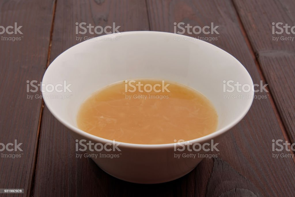 Onion soup on a table stock photo