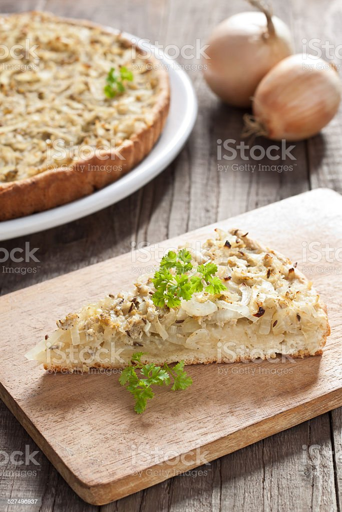 Onion tart stock photo