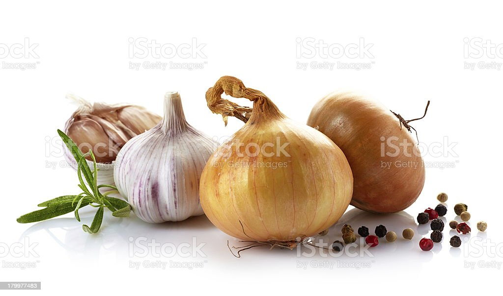 onions and garlic on a white background royalty-free stock photo