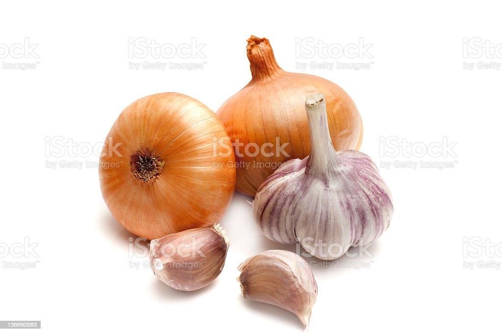 Onions and garlic stock photo