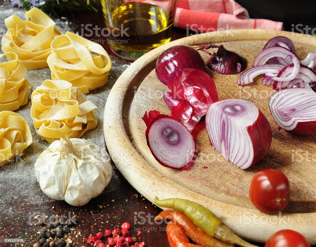 Onions And Pasta stock photo