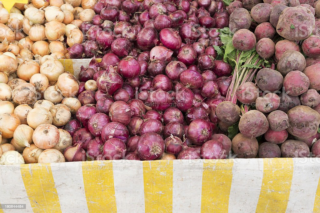 Onions at the farmers market royalty-free stock photo