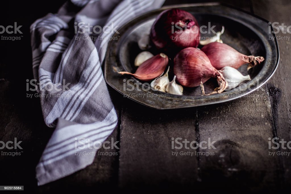 Onions, garlic and peppers stock photo
