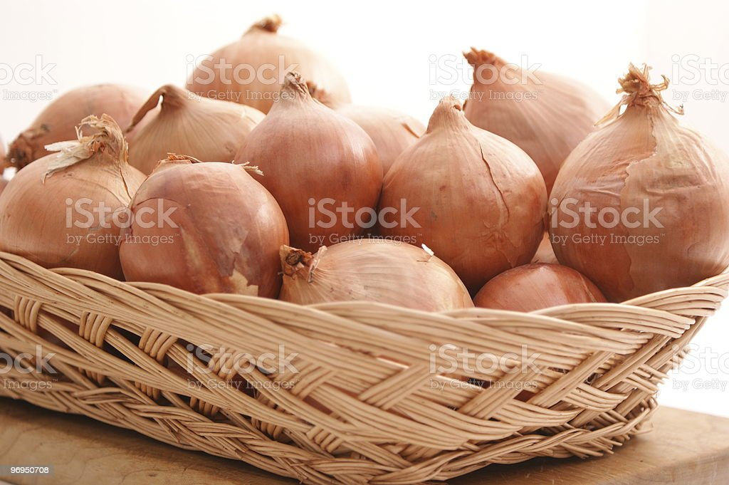 Onions in a basket royalty-free stock photo
