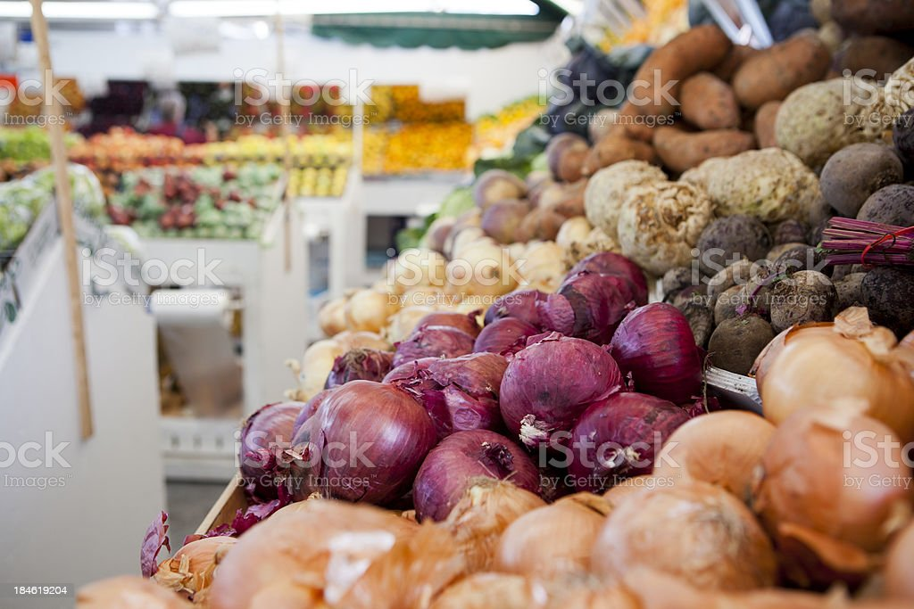 Onions in a stall at Montreal Farmers Market, Quebec, Canada royalty-free stock photo