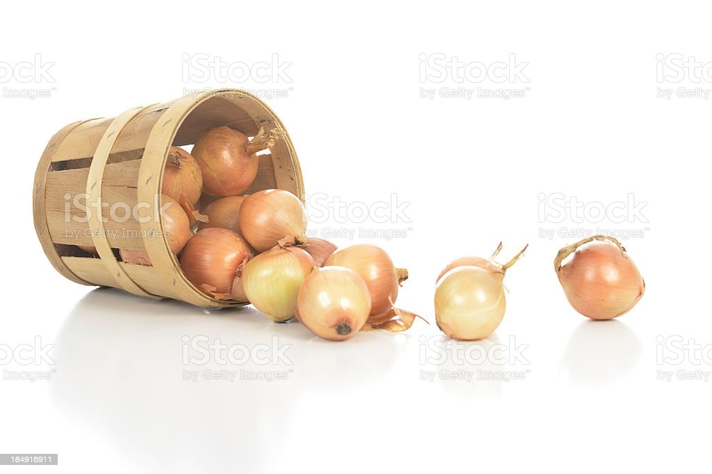 Onions Spill Out Of a Basket stock photo