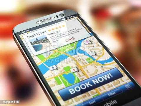 istock Online accommodation booking concept. Smartphone and system  hot 492095116