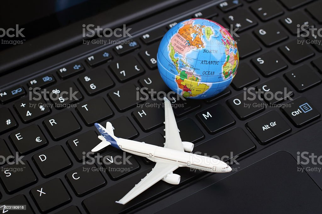 Online airline  ticket stock photo