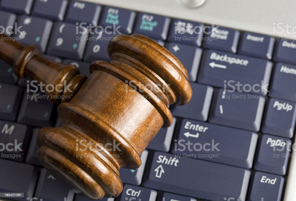 Online Auction Concept with Gavel on Laptop  Auction Stock Photo