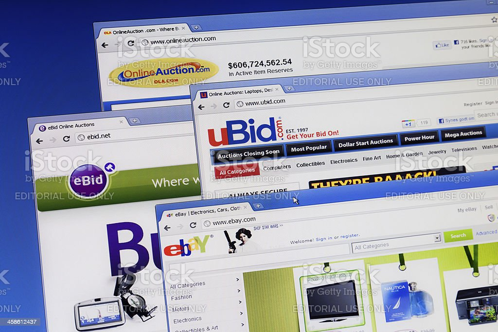 Online Auction Web Sites On Computer Monitor Stock Photo