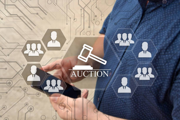 online auctions  on the touch screen with a blur background of the businessman with the phone.the concept of online auctions - flat design stock photos and pictures