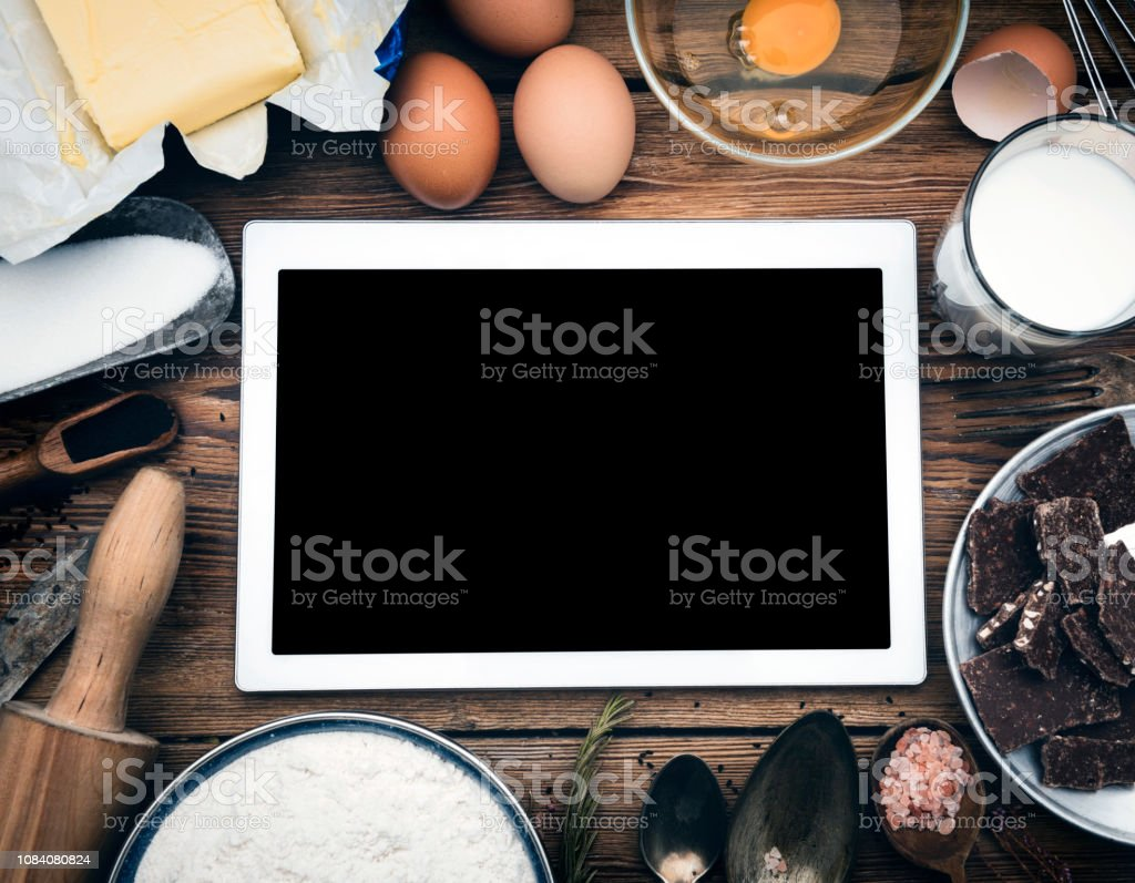 Online Baking Recipe Blank Screen Tablet And Ingredients