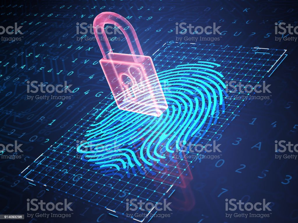 Online banking and fingerprint authentication technology. stock photo