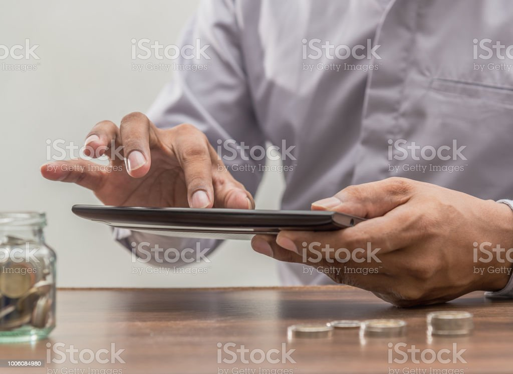 Online banking and internet banking concept, Business man with laptop...
