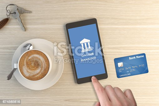 Online Banking App On Smartphone with objects on wooden desk. ( 3d render )