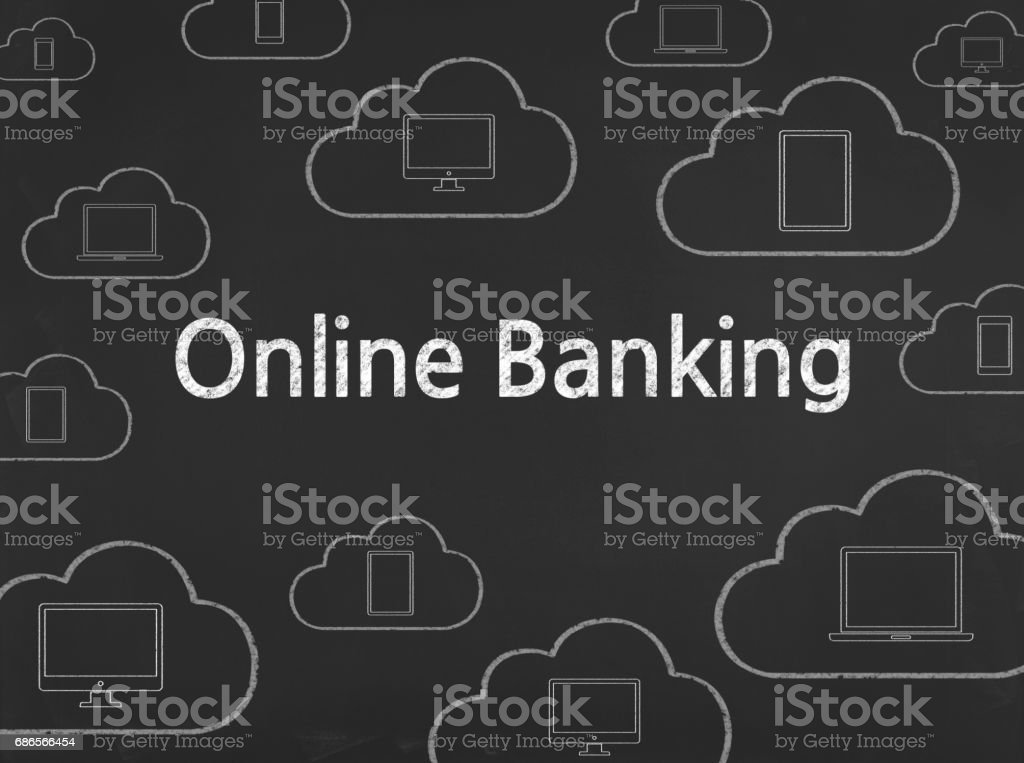 Online Banking - Business Chalkboard Background royalty-free stock photo