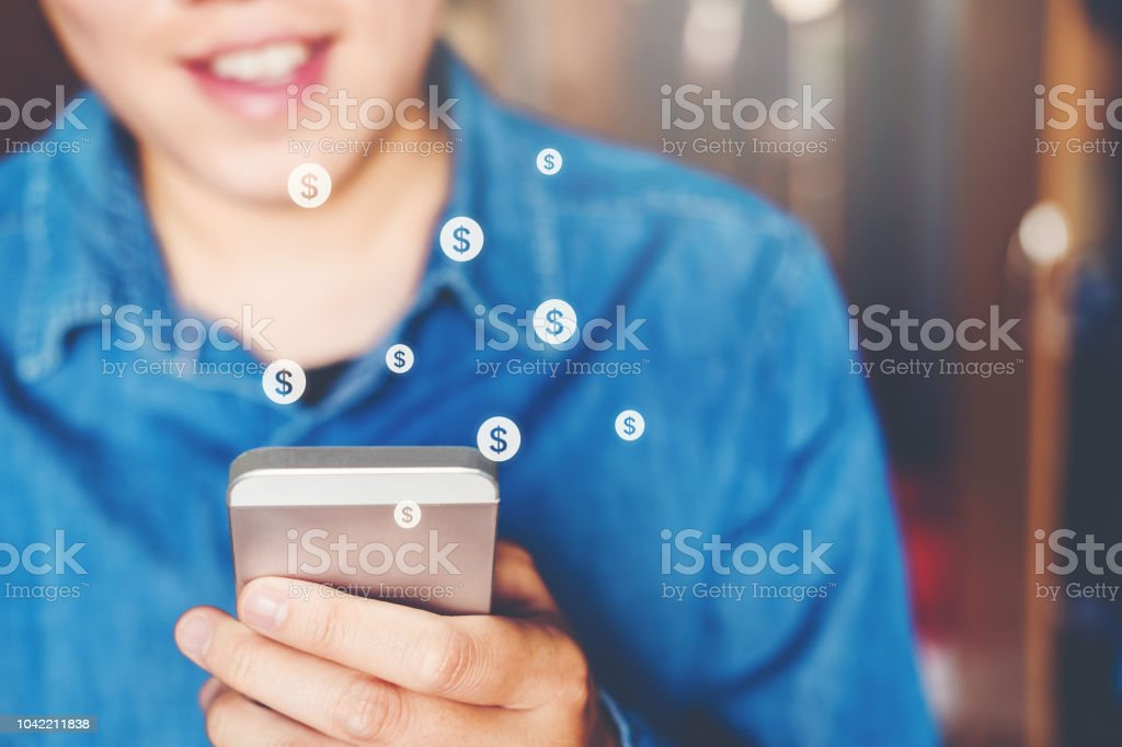 Online banking businessman using smartphone Fintech and Blockchain concept stock photo