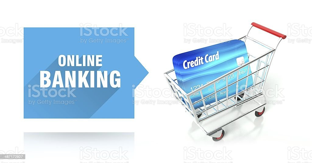 Online banking, credit card and shopping cart stock photo