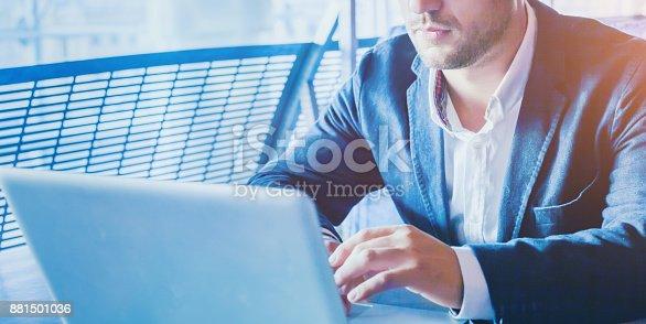 904263506 istock photo online banking, man working on laptop 881501036