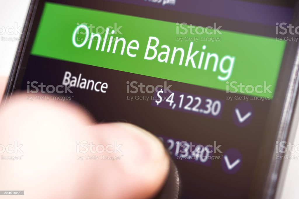 Online Banking on Smartphone stock photo