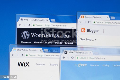 Websites (homepages) of leading online blogging and self-publishing websites in the world - WordPress, Blogger, Wix, Ghost