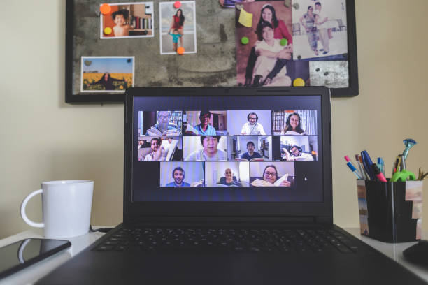 Online book club members reading together in a video conference stock photo