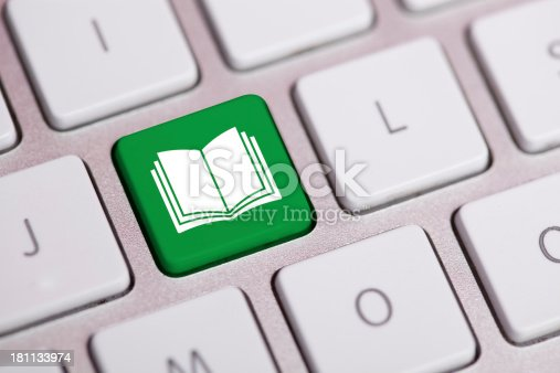 istock Online Book Concept on Keyboard and E-Learning 181133974
