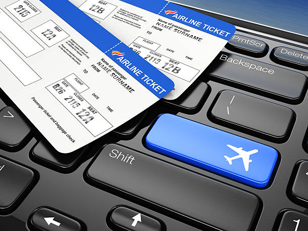Online booking airplane tickets. 3d stock photo