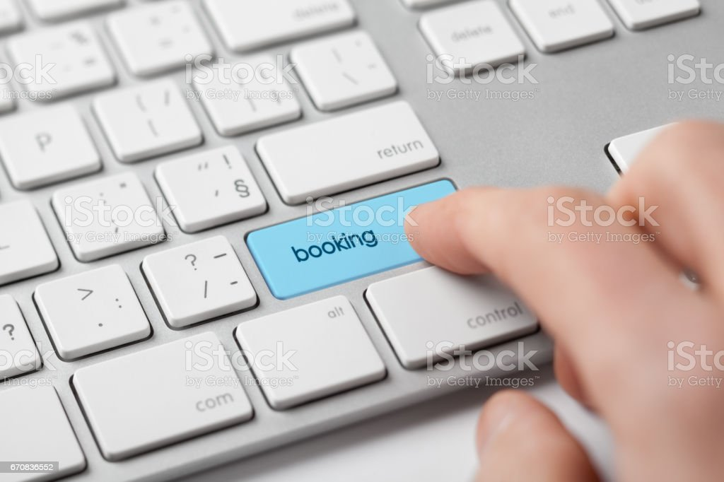 Online booking concept stock photo