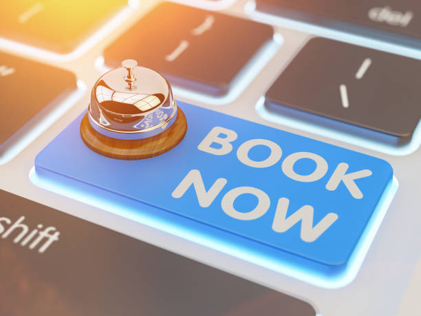 Online booking, internet reservation, ordering and reserve concept - foto stock
