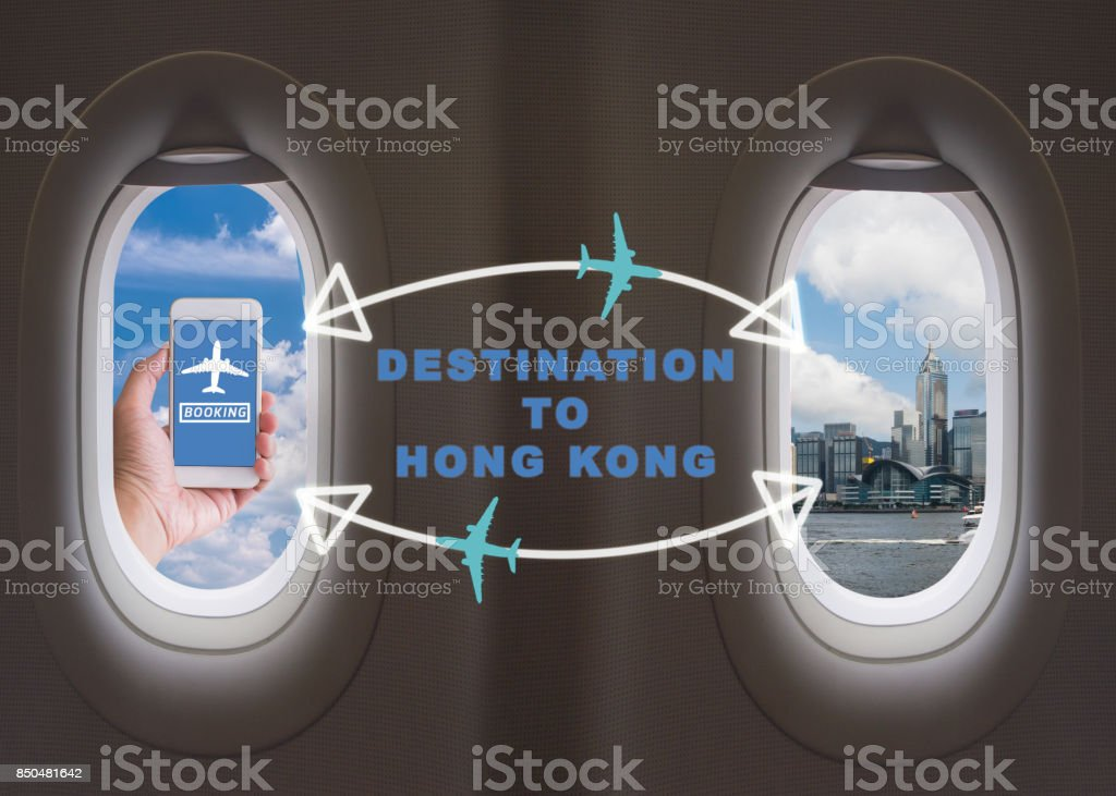 Online Booking Traveling Plane Flight to Hong kong stock photo