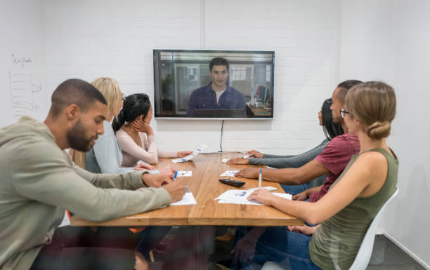 Online business meeting at the office stock photo