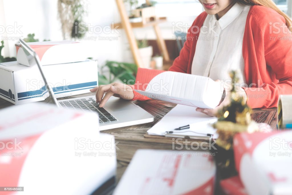 Online business seller owner.Online shopping. stock photo