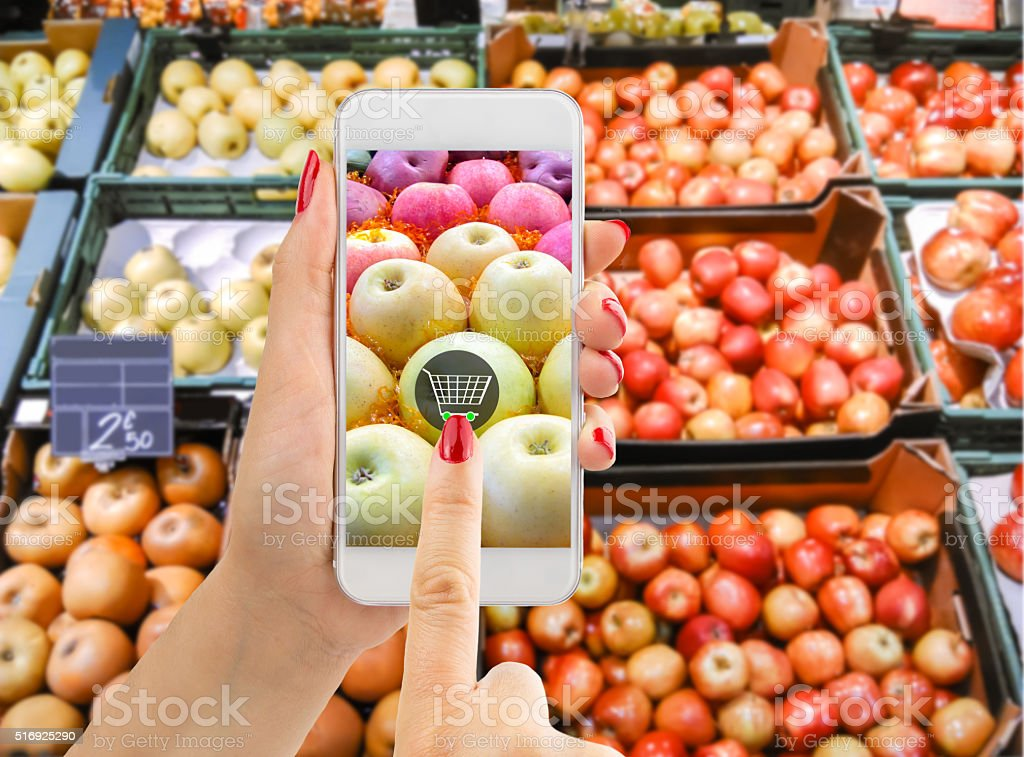online buying apples stock photo