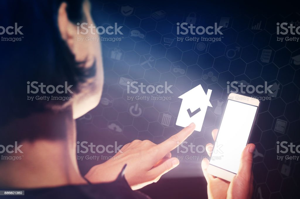 Online buying or rent estate. stock photo