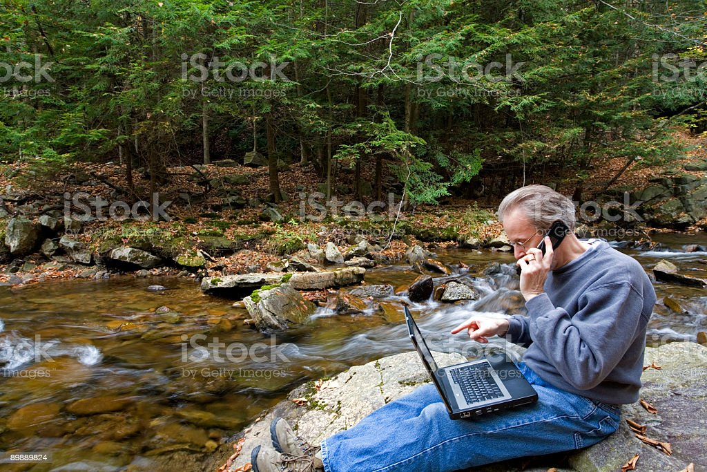 Online By A Stream royalty-free stock photo