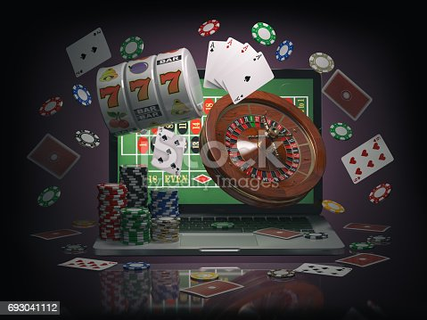 istock Online casino concept. Laptop roulette, slot machine, chips and  cards 693041112