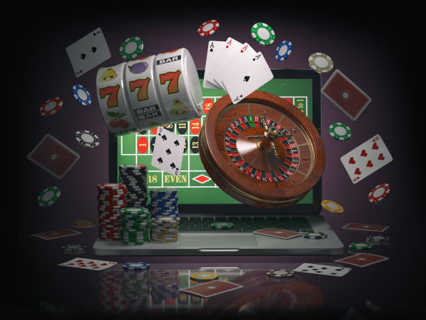 Online casino concept. Laptop roulette, slot machine, chips and  cards Online casino concept. Laptop with roulette, slot machine, casino chips and playing cards isolated on black background. 3d illustration game of chance stock pictures, royalty-free photos & images