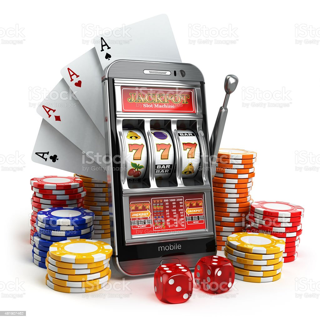 Online casino concept. Mobile phone, slot machine, dice and card stock photo